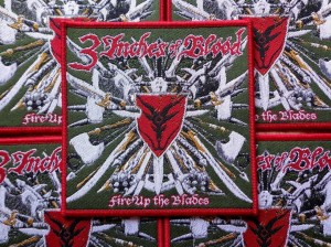 3 INCHES OF BLOOD - FIRE UP THE BLADE [red border] -- Woven Patch