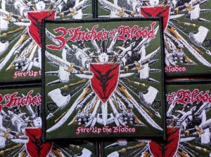 3 INCHES OF BLOOD - FIRE UP THE BLADE [black border] -- Woven Patch