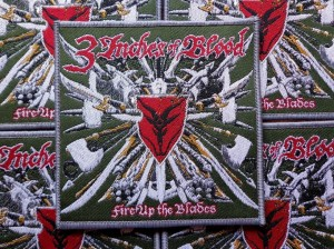 3 INCHES OF BLOOD - FIRE UP THE BLADE [grey border] -- Woven Patch