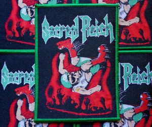 SACRED REICH - STAGE DIVER [green border] -- Woven Patch
