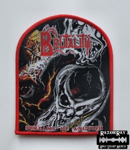 BRUTALITY - Screams of Anguish [red border] -- Woven Patch