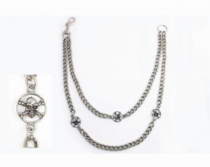 Double Metal Chain SKULLS with Key Ring [62cm]