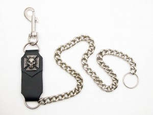 Metal Key Chain with Leather Strap IRON CROSS Key Ring [66cm]