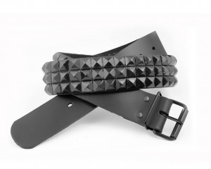 3 Row Black Pyramid Studded Leather Belt