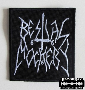BESTIAL MOCKERY [white] -- Embroidered Patch