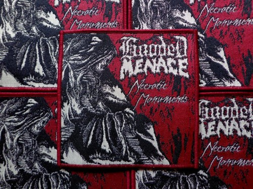 HOODED MENACE - NECROTIC MONUMENTS [maroon border] --- patch.JPG