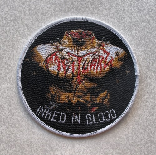 OBITUARY - Inked In Blood [white border] --- woven patch.JPG